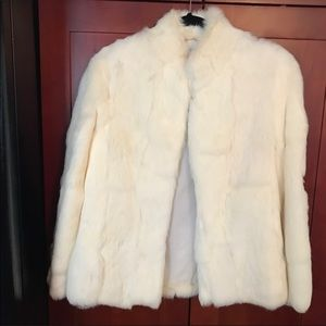 Elegant vintage cream color Genuine Fur Coat